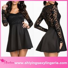 Classic Wholesale Lace Bodice black micro mini sexy dress