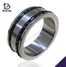 Preto design de ponta de aço inoxidável atacado anéis baratos