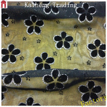 Air mesh fabric for winter garment / Little flower flocked mesh fabric for bags woman / home textile and sofa upholstery fabric