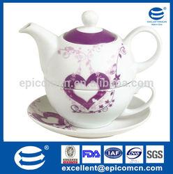 romantic flower with heart design personal porcelain tea set with 450cc tea pot and 250cc tea cup