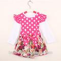 Grosso de algodão floral impresso bebê menina vestido com babado, bebê criança vestido modelo