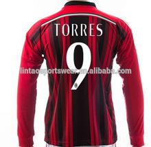 Accept paypal soccer shirt 2014/15 season home #10 HONDA #92 EL SHAARAWY #9 TORRES AC milan long sleeve jersey