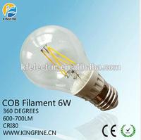 New design led bulb A19 A60 6W 600-700LM E27 2700K 6000K led filament bulb