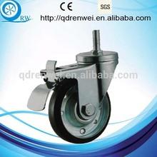 Steel Core Elastic Rubber Caster Thread Stem Caster with foot break
