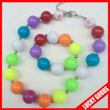 new design child girls colorful plastic beaded necklace and bracelet sets