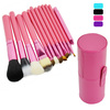 New Professional 12PCS Cosmetic Makeup Brush Set Make-up Tool With Leather Cup Holder 4Colors 16475#