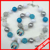 2014 fashionable Frozen snowflake and beads fancy necklace sets wholesale