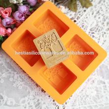 Best seller heat resistant 4 cavities nonstick rectangle handmade silicone soap molds