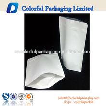 high grade 500g White standy Kraft paper bag , zip tea bag
