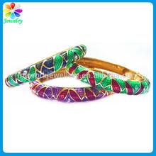 vintage primavera arcobaleno smalto verde brillante enamle incernierato bracciale bangle 14k braccialetto braccialetto in oro