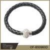 2015 fashion black leather knit bracelet with rhinestone