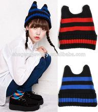 New Trendy Women Warm Stripe Devil Horns Knit Baggy Crochet Beanies Ski Hat
