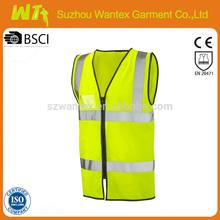 EN 471 zipped waistcoat safety vest sleeveless safety work vest