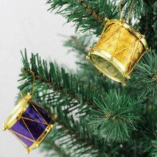 Plastic Christmas drum haning ornament for Xmas tree