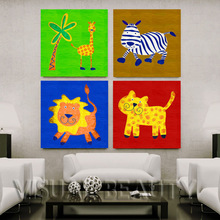 2014 New Product Of Cartoon Animal Oil Painting For Kids Room