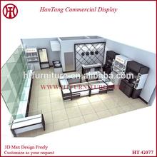 Hot sale 16*16 feet customizable elegant black wood optical shop decoration for glasses store