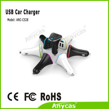 Dual usb outlet high power 5.2A auto charger with reelable micro usb cable