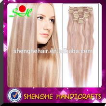 HOT sale Cheap 100% virgin human hair clip in human hair extensions