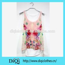 Wholesale OEM lady / woman digital printed Top in sleeveless 2015