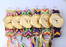 2014 Multicolor Handmade Braided Friendship Ladies Geneva Woven Bracelet Watch