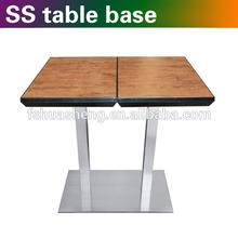 Modern wood top metal base coffee table