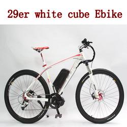 2015 Latest Off Road White Bicycle 29er Electric Bike 48V 750W 29er Mid-Drive+9-speed+48V 12Ah Li-ion Battery+LCD Display