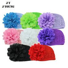 KD-B389 Fashion wholesale kids multicolor crochet caps with flower Hats