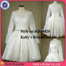 Beautiful lace boat neckline tea length wedding dresses long sleeves