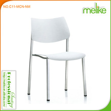 Plastic comfortable conference chair with writing table in metal chairs