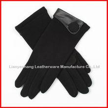 Soft female use warm winter fashion glove wiht button