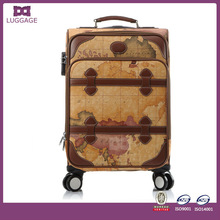 Global World Map Vintage leather luggage PU Leather Luggage