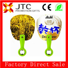 JTC NO MOQ,sample free,payment 5% off cheap plastic hand fan shaped custom bottle opener with BSCI aduit