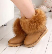 D51753J 2014 new winter kids flat fox fur snow short boots for girl and boy