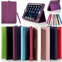 Cover for iPad Mini New Magnetic PU Leather Folio Stand Case with Stylus Holder + Touch Pen as gift
