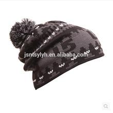Hot sale jacquard pompom men ski knitted beanie hat