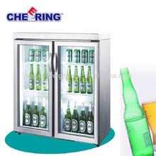 guangzhou manufacturer refrigeration equipment stainless steel glass mini 2 door table top fridge for beer display
