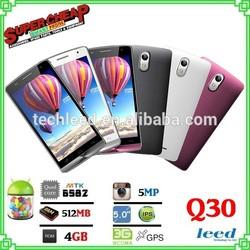 MTK6572 Dual core 5.0inch mobile phone Q30 3G smartphone dual sim dual standby