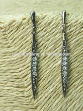 Factory Wholesale Needle Shape silver Plated Drop Earrings