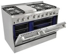 High end 48 inch gas range two smokeless Conversion oven with 6 burner --HRG4804U
