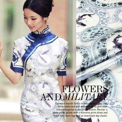 ss101205 Blue and white porcelain Digital Printed silk satin dress fabric