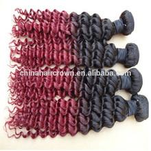 Best selling 5a grade virgin double drown body wave two tone human hair weave