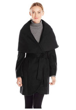 Hot Sale Women's Marla Wool Wrap Oversized Showl Collar Back Solid Color Coat