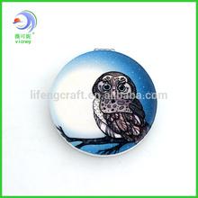 leather printed owl metal pocket mirror