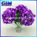Decorativa flores roxo de seda da flor do Hydrangea arranjo em vaso de vidro