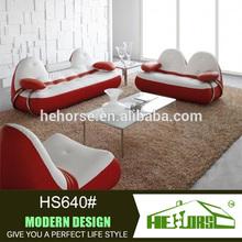 HS640# cat ear appearance leather red white sofa 100% top grain leather sofa set modern sofa set