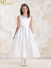Fd-026 2015 nuevo sin mangas de tobillo longitud apliques blanco cenicienta vestidos de flores niña