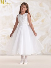 FD-031 2015 Simple O Neck Sleeveless Ankle Length Appliqued White Flower Girl Tulle Dress