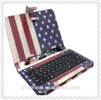 7 inch Tablet PC Micro USB Leather Keyboard Case English/Spanish/Thai/Arabic/Persian/Portuguese/Italian/French/Brazil