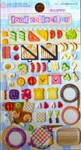 Personnalisé belle alimentaire Collection Puffy Sticker / autocollant réfrigérateur magnétique