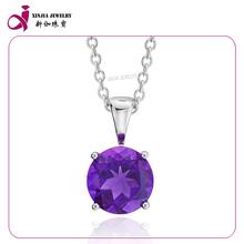 Mode d'argent sterling 925 diamant cz améthyste pendentifs pierre de naissance